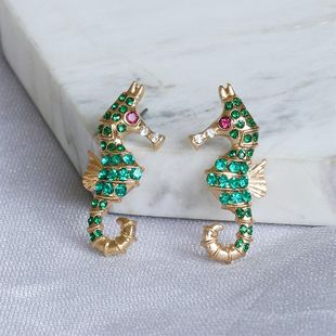 New ocean series full diamond glass hippocampal earrings fashion exaggerated earrings wholesale NHJJ206753's discount tags