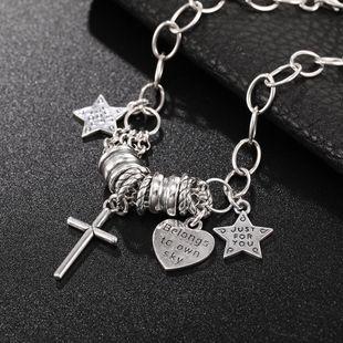 S925 Sterling Silver Bracelet Cross Love Star Cute Accessories Wholesale Women's Bracelet NHUI206763's discount tags