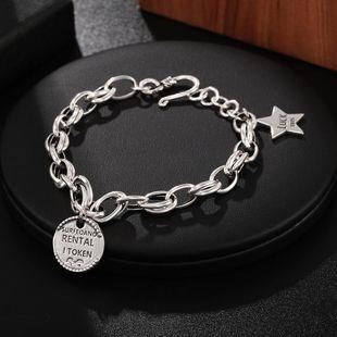 S925 sterling silver bracelet ladies fashion english alphabet round card bracelet wholesale NHUI206772's discount tags