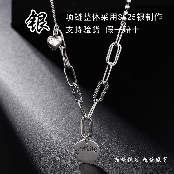 New 925 Sterling Silver Smiley English Round Tag Necklace Wholesale NHUI206787
