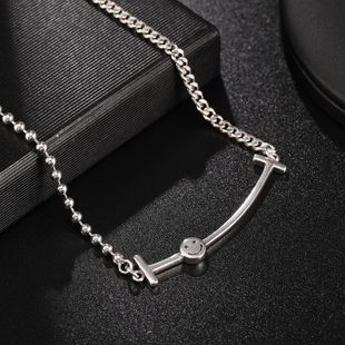 New Fashion 925 Sterling Silver Necklace Female Smiley Necklace Wholesale NHUI206788's discount tags