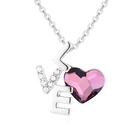 Crystal Love LOVE Necklace Wholesale NHSE206846's discount tags
