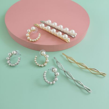Fashion hairpin set pearl word clip C-shaped pearl earrings wholesale NHJJ210480's discount tags
