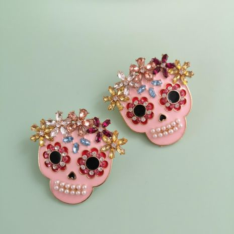 New Fashion Ghost Head Pink Earrings Color Diamond Diamond Skull Ear Studs for Women Wholesale NHJJ210486's discount tags
