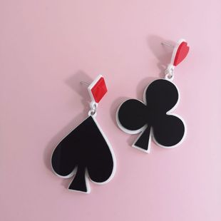 New fashion playing card spade plum earrings red square peach heart earrings for women wholesale NHJJ210491's discount tags
