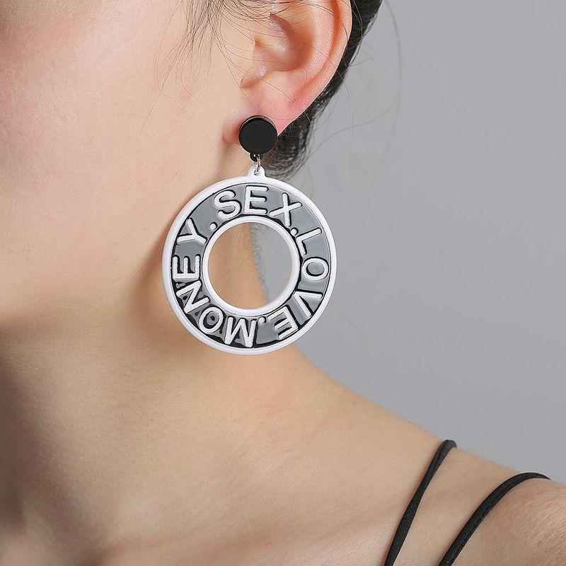 Korean new fashion geometric round earrings circle English alphabet earrings for women wholesale NHJJ210492