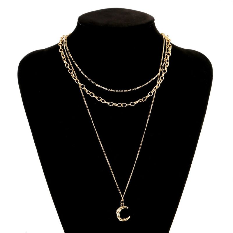 New fashion geometric moon pendant necklace multilayer alloy necklace wholesale NHJJ210493