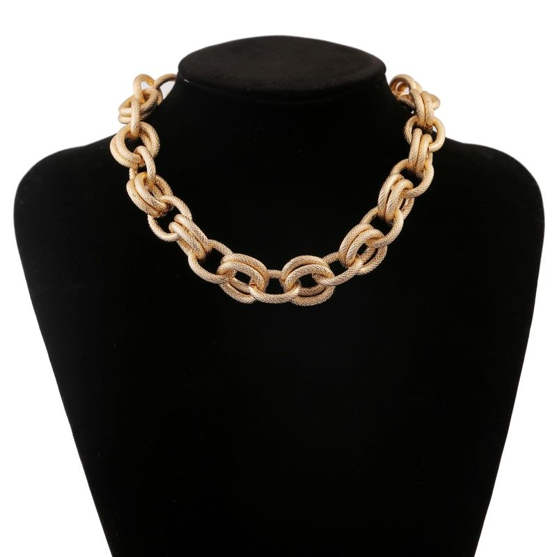 New fashion retro punk metal exaggerated geometric necklace simple circle necklace wholesale NHJJ210504