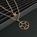 New fashion doublelayer retro hollow fivepointed star round geometric necklace wholesale NHJJ210507