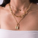 New fashion alloy lock heart necklace threepiece clavicle chain wholesale NHJJ210509
