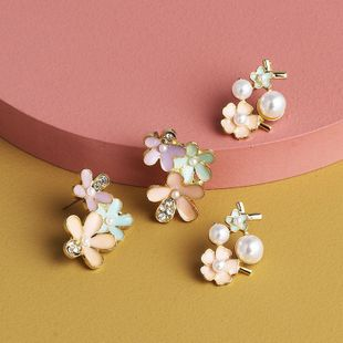 New fashion pearl sweet literary Epoxy flower earrings for women wholesale NHJJ210521's discount tags