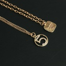 New fashion English square brand necklace hollow 5 word diamond pendant twopiece clavicle chain NHJJ210523