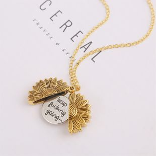 New fashion double-layer lettering sunflower necklace alloy flowers short neck chain women wholesale NHJJ210524's discount tags