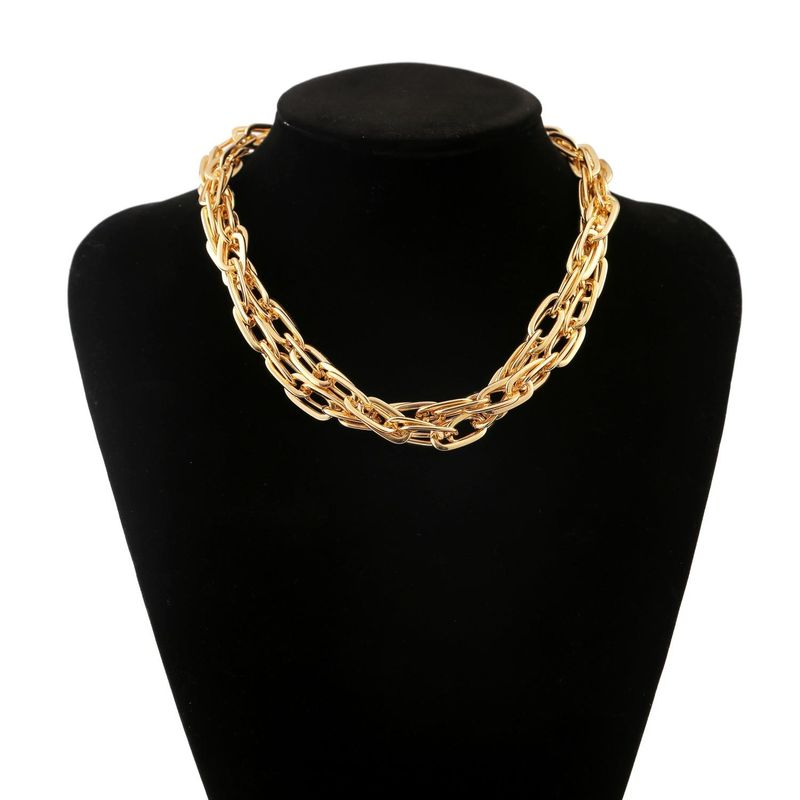 New fashion retro punk metal exaggerated geometric necklace simple multilayer necklace wholesale NHJJ210527