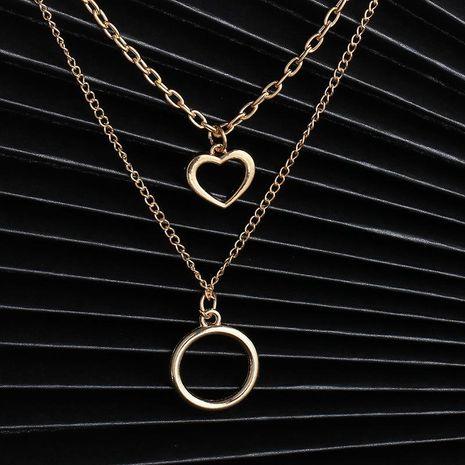 Nouvelle mode double couche rétro creux creux rond géométrique collier pendentif pour les femmes en gros NHJJ210528's discount tags