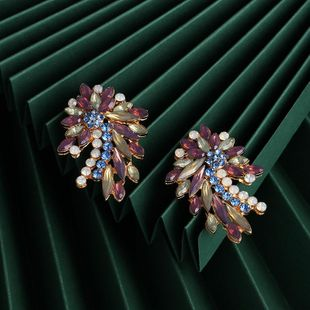 New fashion retro color flower earrings wholesale NHJJ210530's discount tags