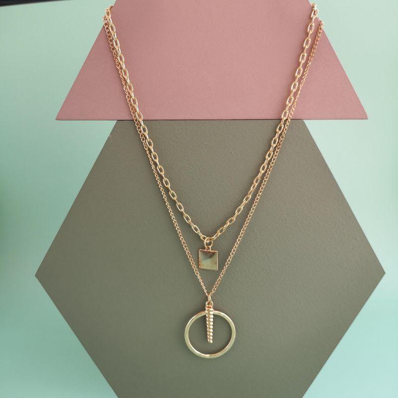 New fashion retro geometric pendant necklace multi-layer wild necklace wholesale NHJJ210533