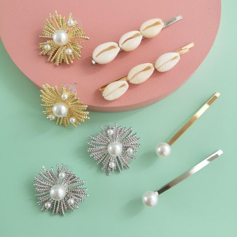 New fashion shell alloy inlaid pearl earring cheap hairpin combination set wholesale NHJJ210541's discount tags