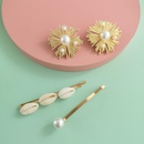 New fashion shell alloy inlaid pearl earring cheap hairpin combination set wholesale NHJJ210541
