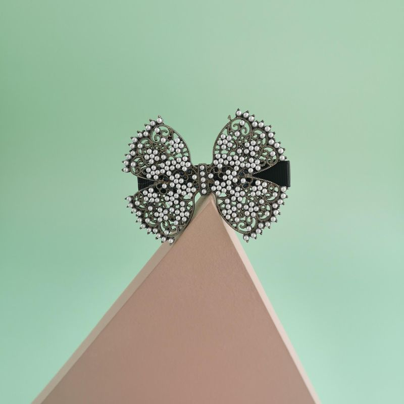 New fashion metal made old retro pearl bow cheap hairpin wholesale NHJJ210546