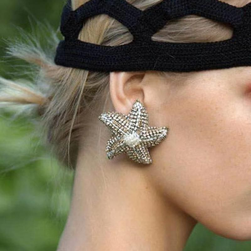 New fashion pentagram alloy diamond rhinestone starfish earrings for women wholesale NHJE210550