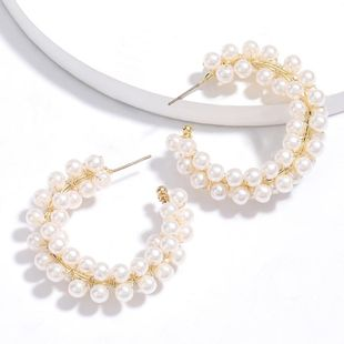 New fashion C-shaped alloy imitation pearl earrings for women wholesale NHJE210553's discount tags