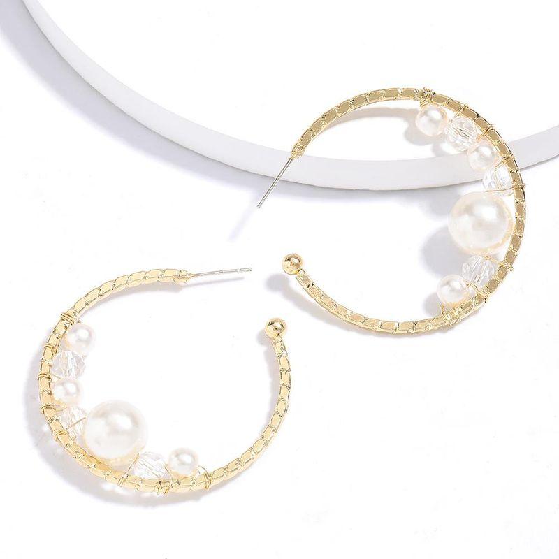 New fashion Cshaped alloy imitation pearl acrylic earrings for women wholesale NHJE210555