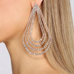 New fashion multi-layer drop-shaped alloy diamond earrings for women wholesale NHJE210558's discount tags