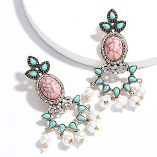 New fashion alloy diamond-set turquoise imitation pearl earrings for women wholesale NHJE210559's discount tags