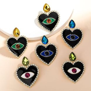 New Fashion Love Heart Shaped Eye Dropping Diamond Earrings for Women Wholesale NHJE210563's discount tags