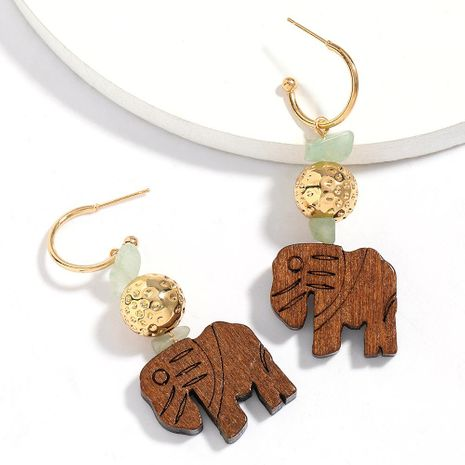 New fashion alloy round wooden elephant earrings for women wholesale NHJE210565's discount tags