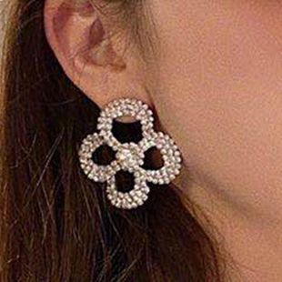 Spring New Alloy Rhinestone Diamond Flower Flower Earrings for Women Wholesale NHJE210566's discount tags