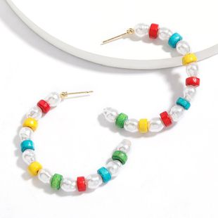New fashion C-shaped colorful wooden imitation pearl earrings for women wholesale NHJE210567's discount tags