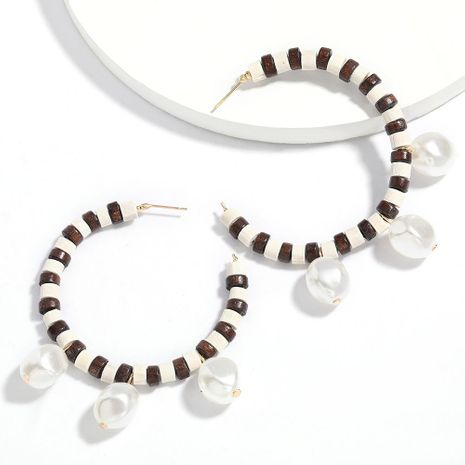 New fashion simple C-shaped wooden imitation pearl earrings for women wholesale NHJE210568's discount tags