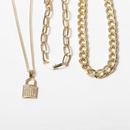 New fashion chain zircon geometric item microlocked multilayer necklace wholesale NHXR210596