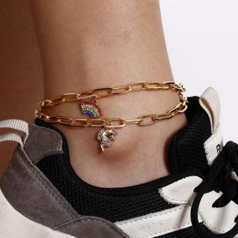Nouveau sauvage géométrique arc-en-ciel contraste couleur zircon pied ornements licorne micro incrustation combinaison cheville pour femmes en gros NHXR210601's discount tags