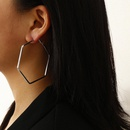 New fashion geometric hip hop metal earrings square round outline suit earrings for women wholesale NHXR210605