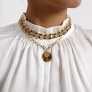 New fashion punk black painting oil thick chain retro coin necklace wholesale NHXR210617