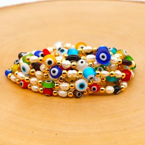 New simple baroque pearl glazed evil eye ethnic style gold bead bracelet for women wholesale NHGW210630's discount tags