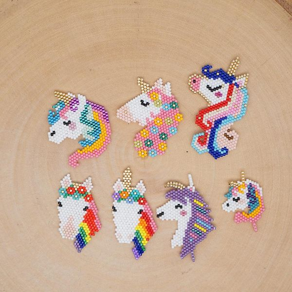 New fashion Miyuki hand-woven color unicorn accessories wholesale NHGW210655