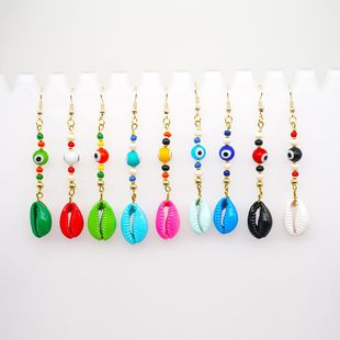 New fashion bohemian glass evil eye color paint natural shell long earrings NHGW210658's discount tags