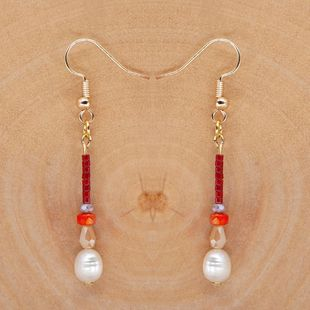 Bohemian Crystal Pearls Natural Freshwater Baroque Pearl Women Long Earrings for women NHGW210661's discount tags