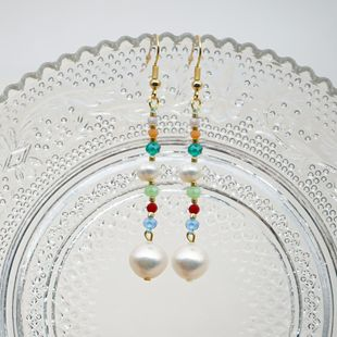New Fashion Bohemian Colored Crystal Pearls Baroque Pearl Earrings for Women Wholesale NHGW210676's discount tags