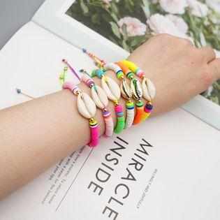 Simple bohème plage style naturel coquille tissé amitié corde bracelet pour femmes en gros NHGW210680
