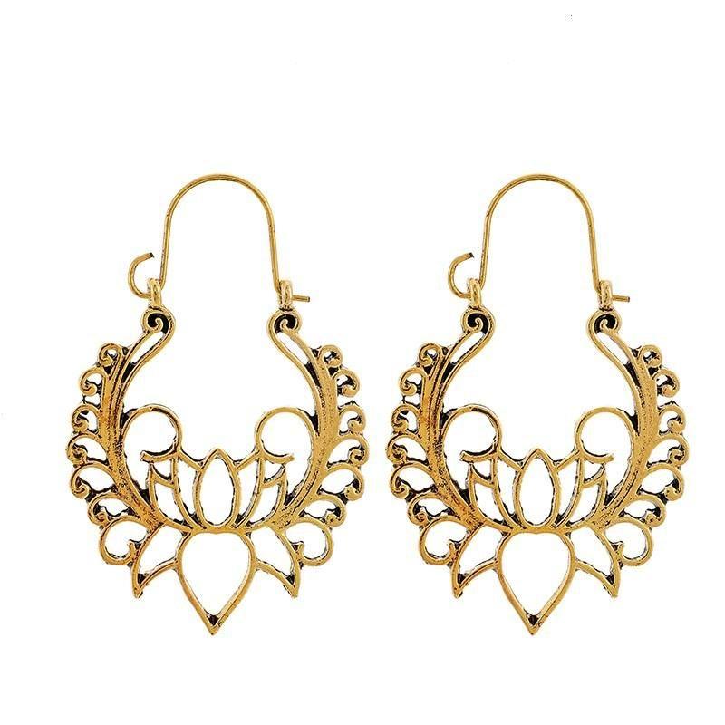 New fashion retro wisp empty lotus earrings flower basket buckle earrings for women wholesale NHGY210686