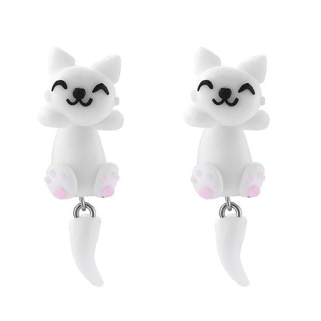 Korean new cute handmade three-dimensional soft clay cat animal earrings for women wholesale NHGY210687's discount tags