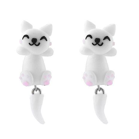 Coréen nouveau mignon à la main en trois dimensions doux argile chat animal boucles d'oreilles pour les femmes en gros NHGY210687's discount tags