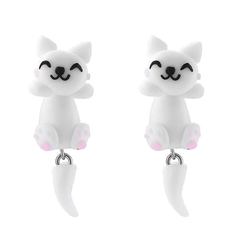 Korean new cute handmade three-dimensional soft clay cat animal earrings for women wholesale NHGY210687
