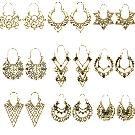 New fashion bohemian retro ethnic style hollow metal carved earrings geometric C-shaped earrings NHGY210689's discount tags