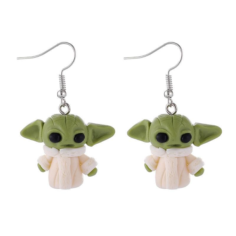New fashion cute cartoon alien soft clay earrings for women wholesale NHGY210694